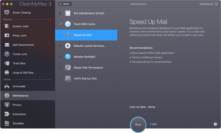 CleanMyMac Speed Up Mail