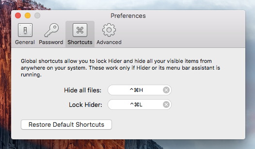 MacPaw Hider 2 Keyboard Shortcuts