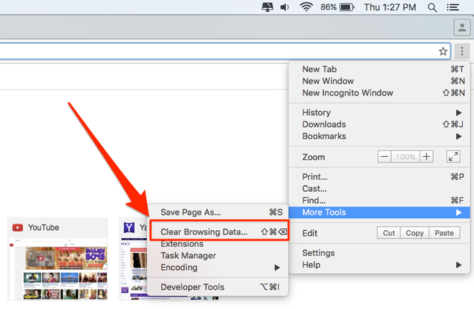 Clear Browsing Data Chrome Mac